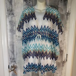 Charlie Paige Chevron ponch coverup swim cover